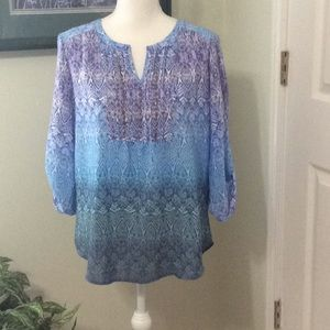 🦋 Kim Rogers boho type blouse in shades of blue